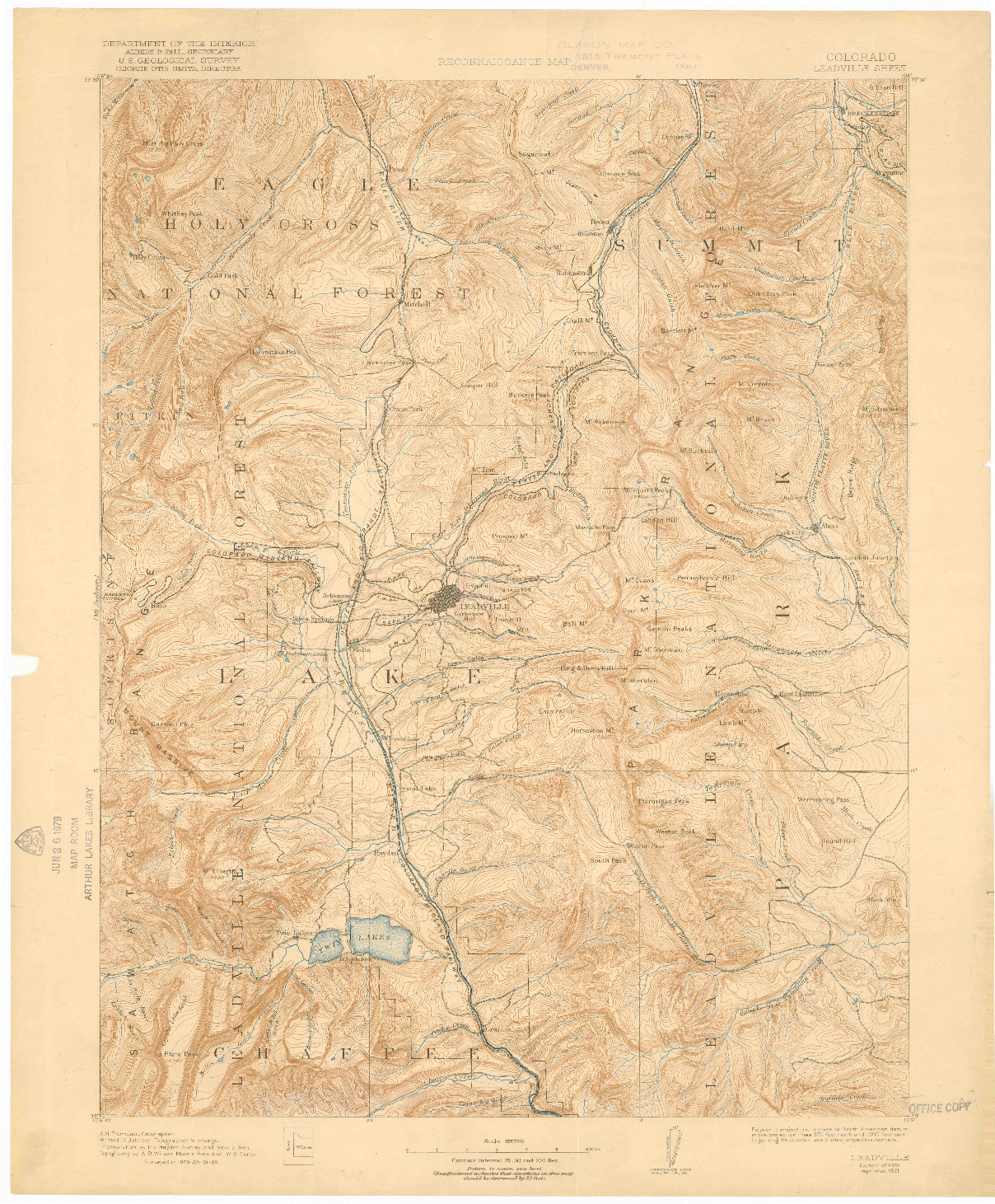 USGS 1:125000-SCALE QUADRANGLE FOR LEADVILLE, CO 1891