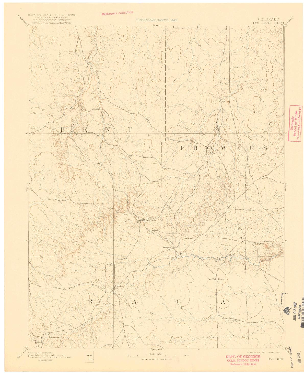 USGS 1:125000-SCALE QUADRANGLE FOR TWO BUTTE, CO 1893