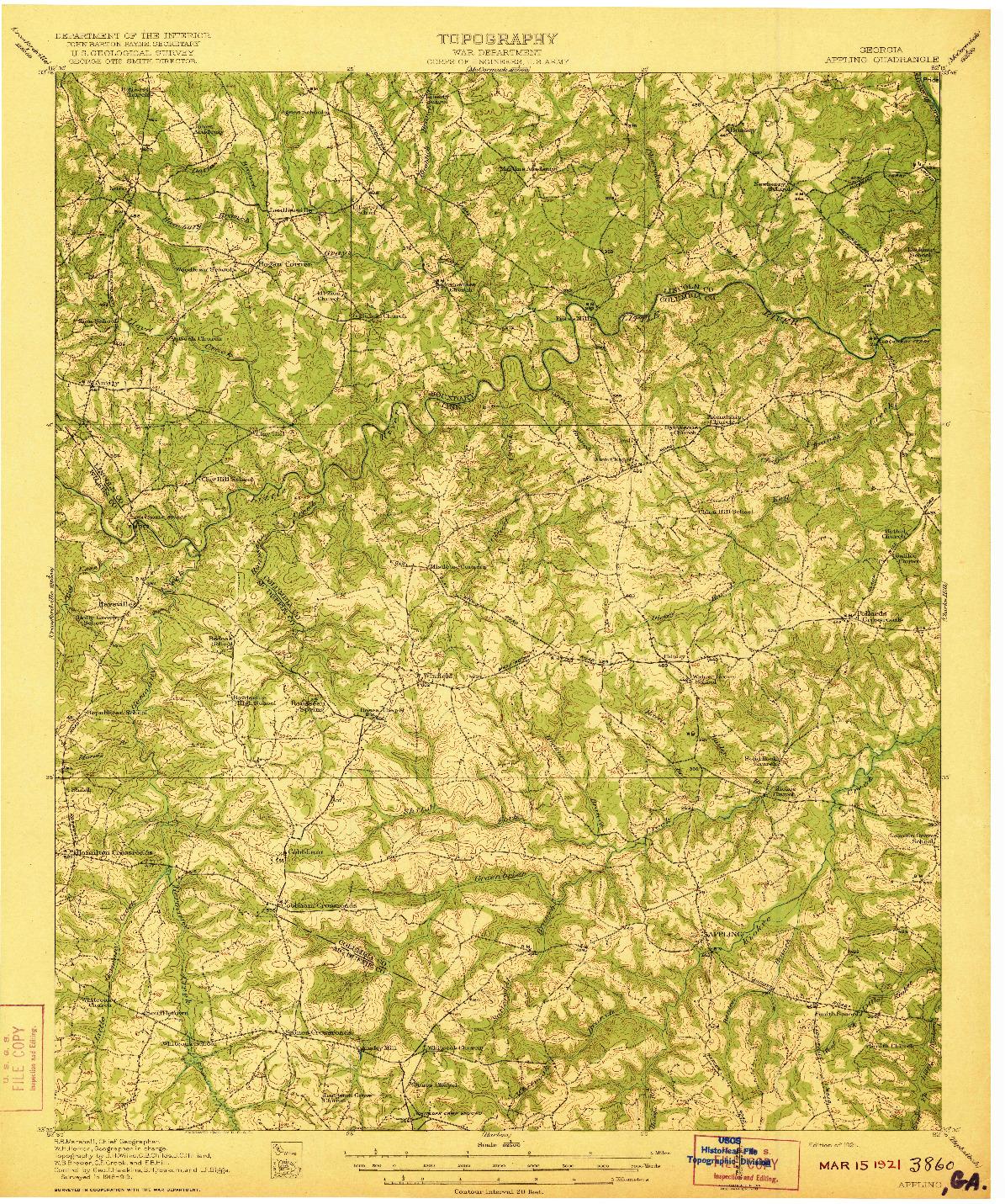 USGS 1:62500-SCALE QUADRANGLE FOR APPLING, GA 1921