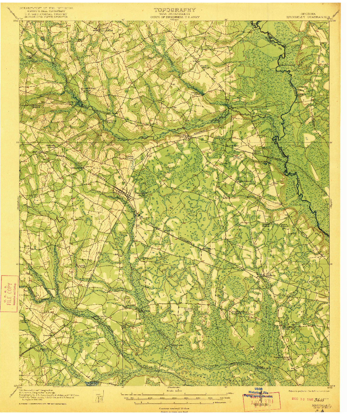 USGS 1:62500-SCALE QUADRANGLE FOR BROOKLET, GA 1921