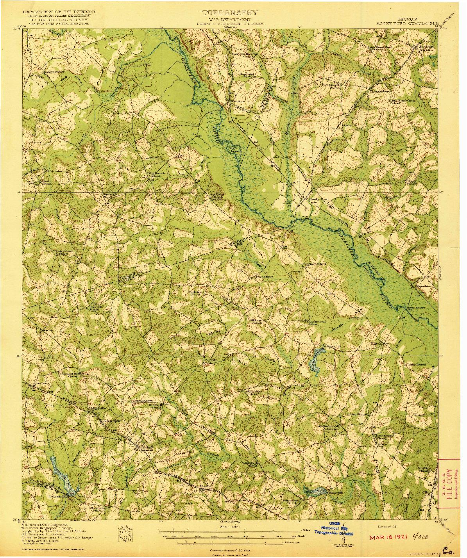 USGS 1:62500-SCALE QUADRANGLE FOR ROCKY FORD, GA 1921