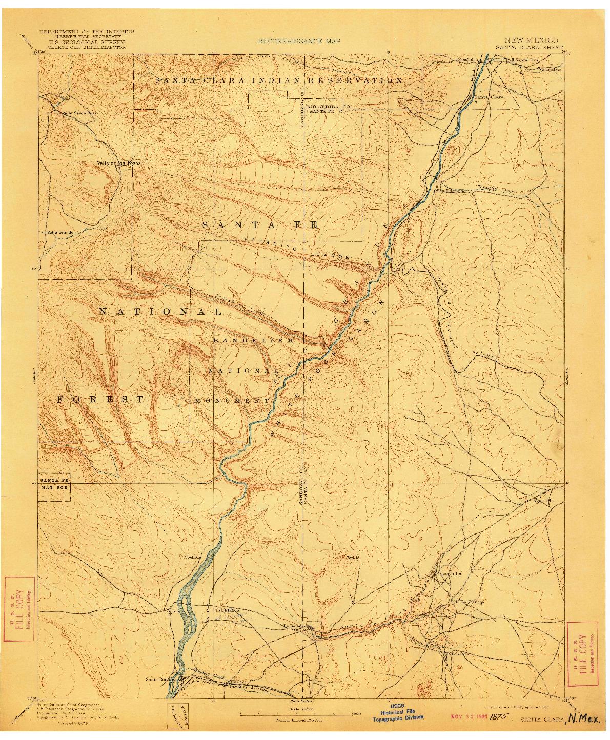 USGS 1:125000-SCALE QUADRANGLE FOR SANTA CLARA, NM 1892