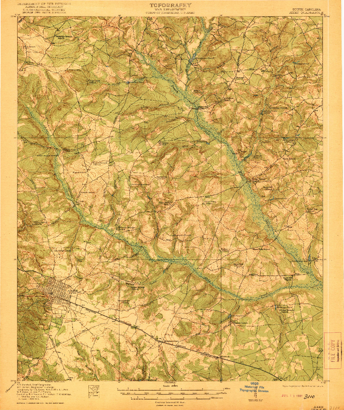 USGS 1:62500-SCALE QUADRANGLE FOR AIKEN, SC 1921