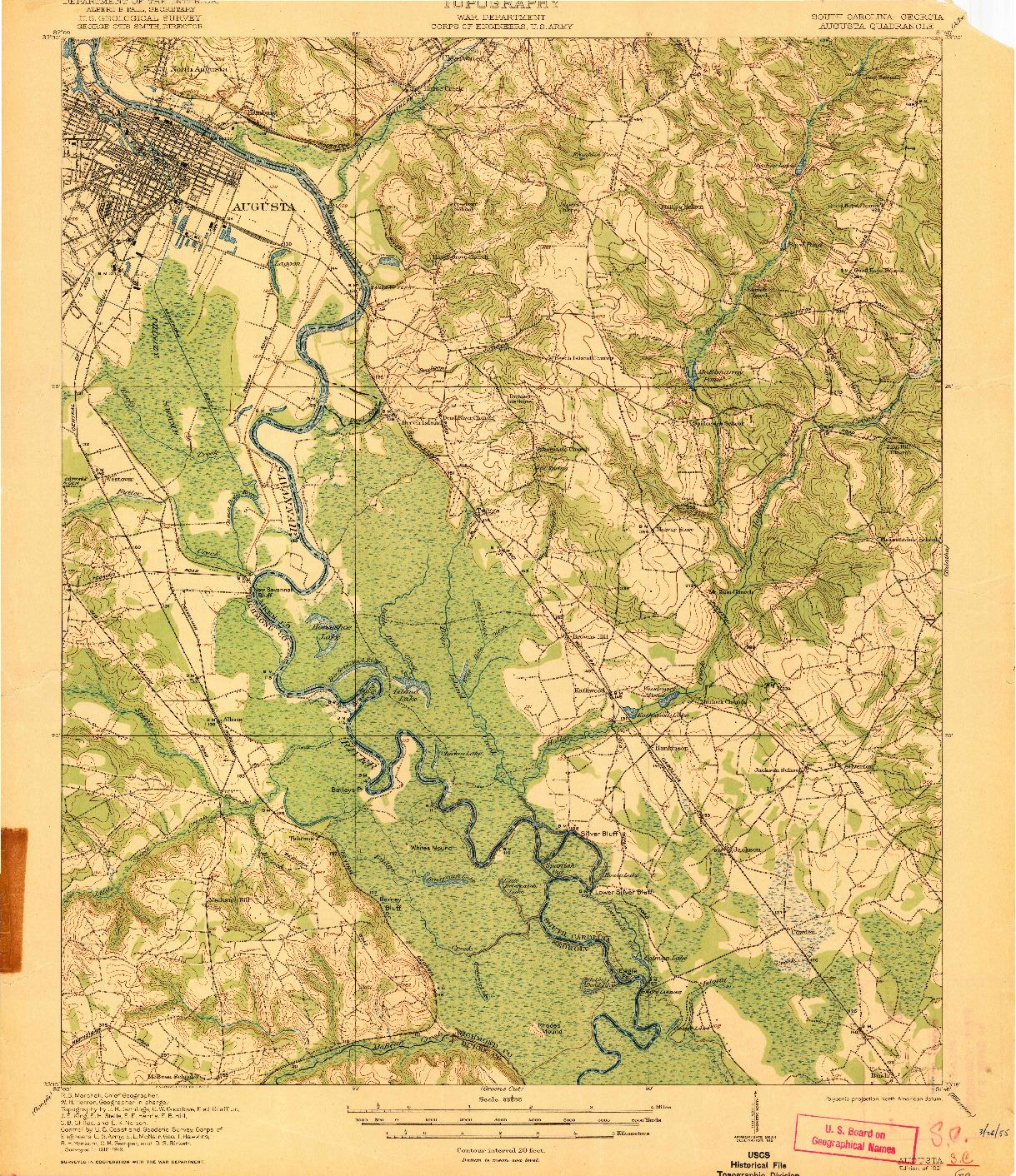USGS 1:62500-SCALE QUADRANGLE FOR AUGUSTA, SC 1921