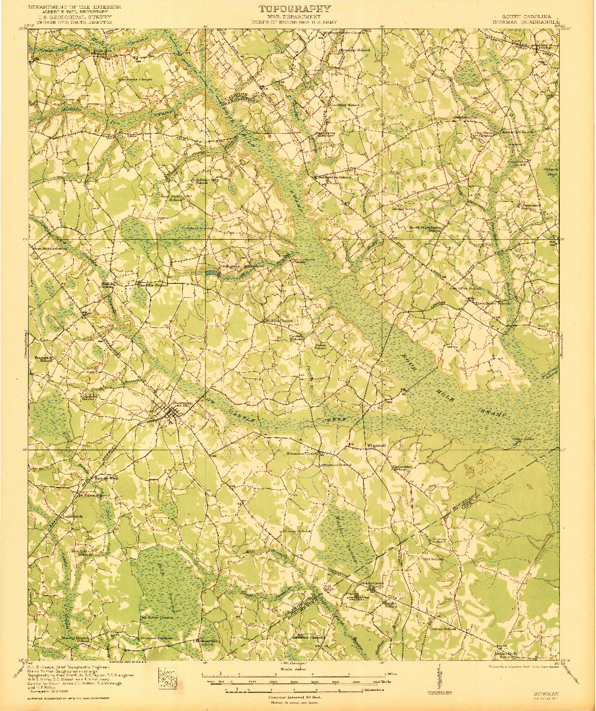 USGS 1:62500-SCALE QUADRANGLE FOR BOWMAN, SC 1921