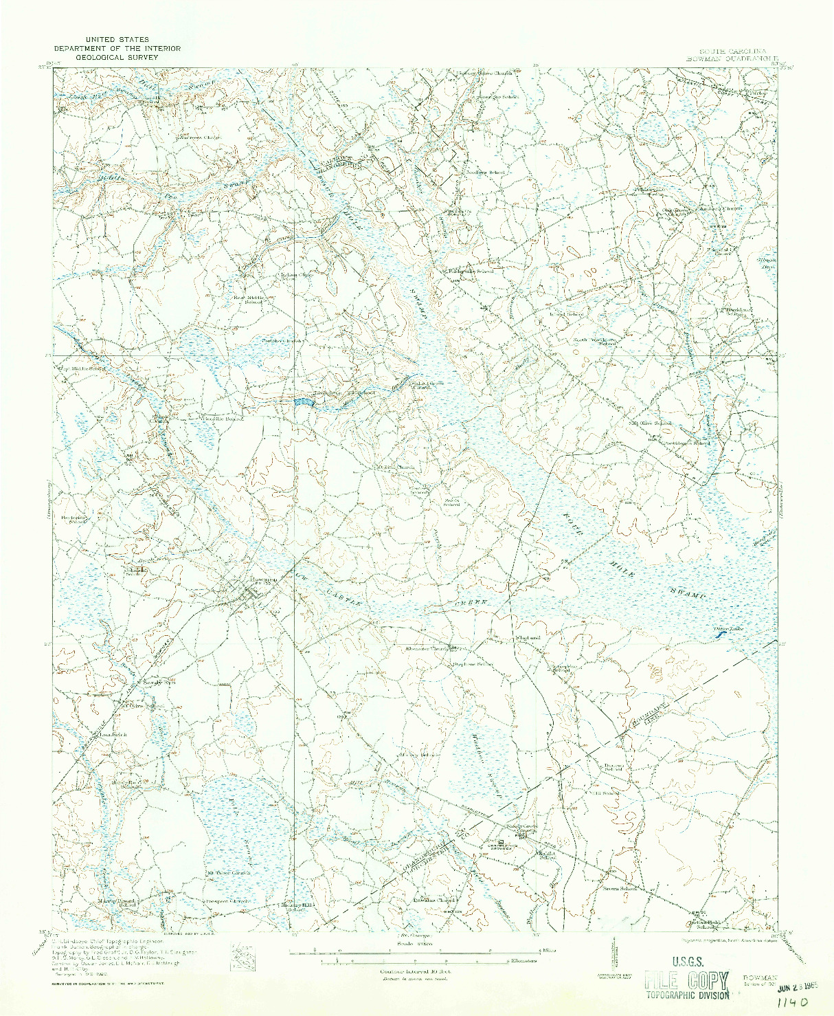 USGS 1:62500-SCALE QUADRANGLE FOR BOWMAN, SC 1921