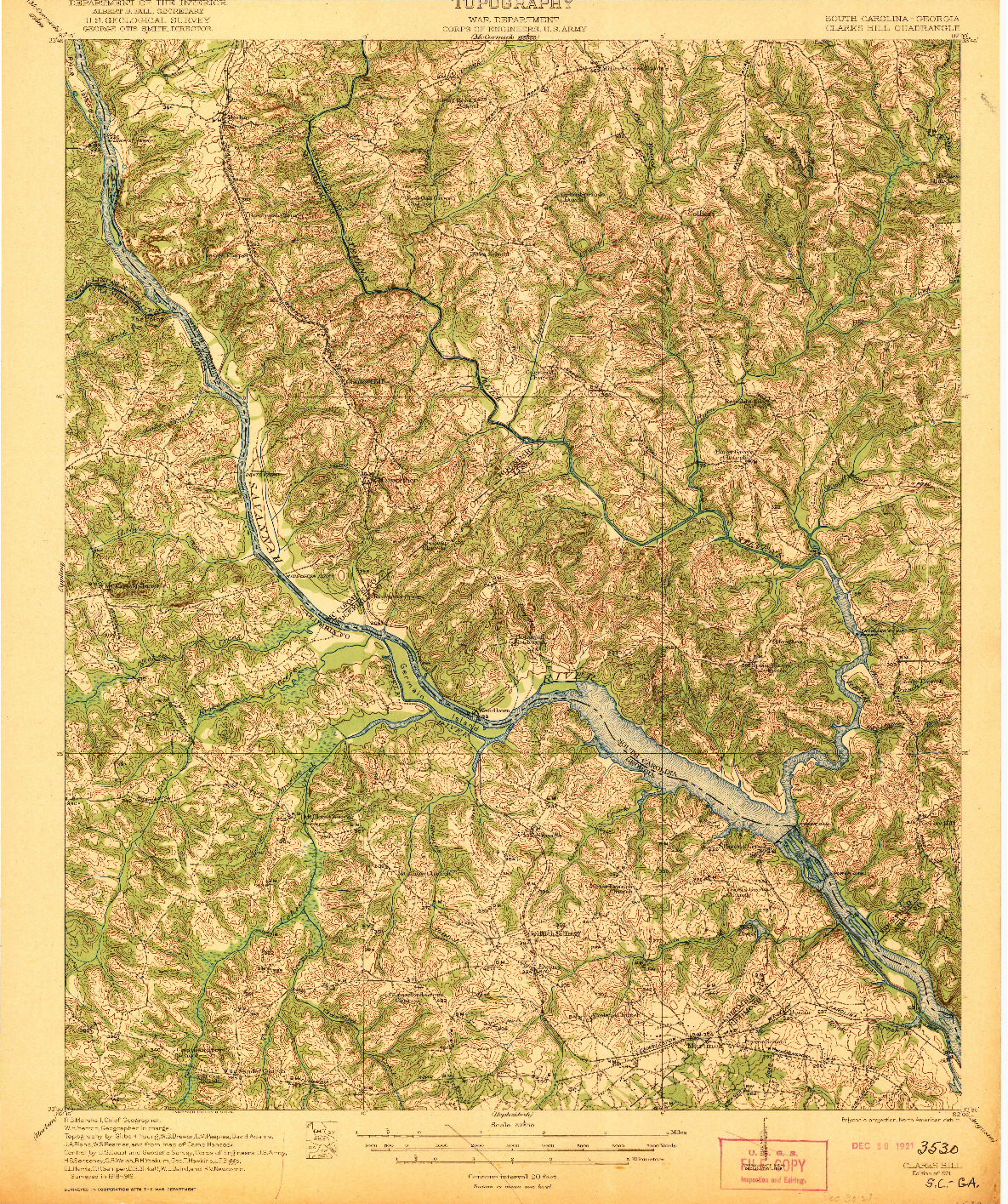 USGS 1:62500-SCALE QUADRANGLE FOR CLARKS HILL, SC 1921