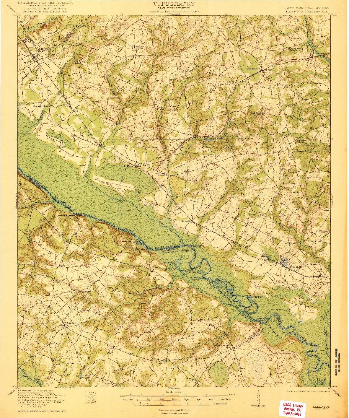 USGS 1:62500-SCALE QUADRANGLE FOR ELLENTON, SC 1921