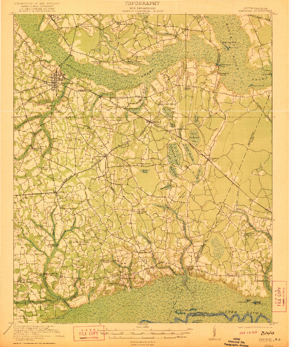 USGS 1:62500-SCALE QUADRANGLE FOR MANNING, SC 1921