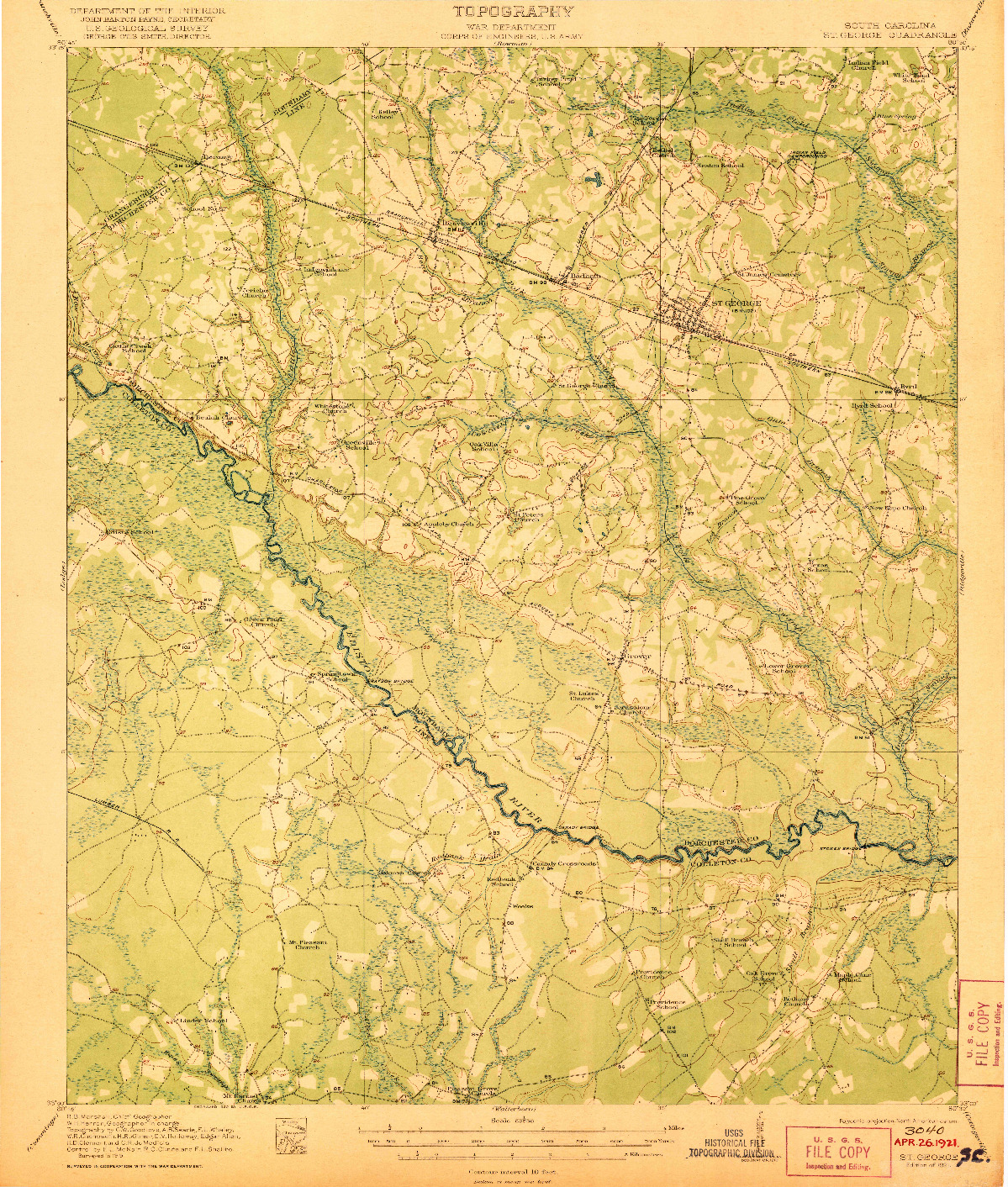 USGS 1:62500-SCALE QUADRANGLE FOR ST. GEORGE, SC 1921