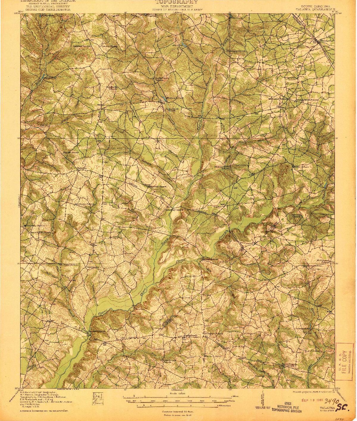 USGS 1:62500-SCALE QUADRANGLE FOR TALATHA, SC 1921