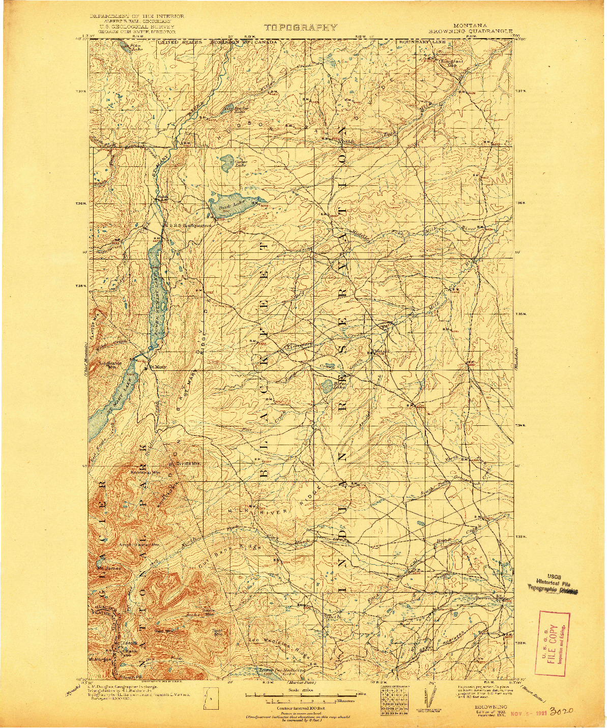 USGS 1:125000-SCALE QUADRANGLE FOR BROWNING, MT 1903