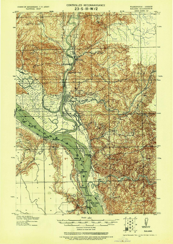 USGS 1:62500-SCALE QUADRANGLE FOR KALAMA, WA 1921