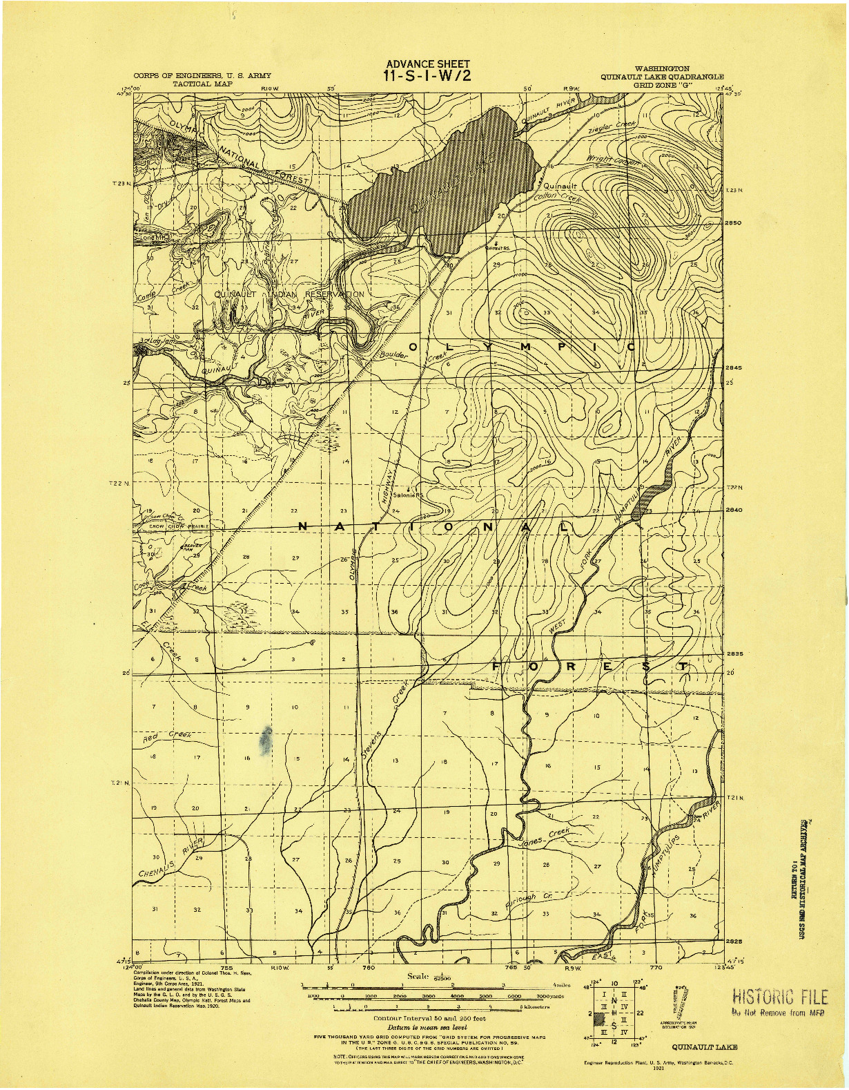 USGS 1:62500-SCALE QUADRANGLE FOR QUINAULT LAKE, WA 1921