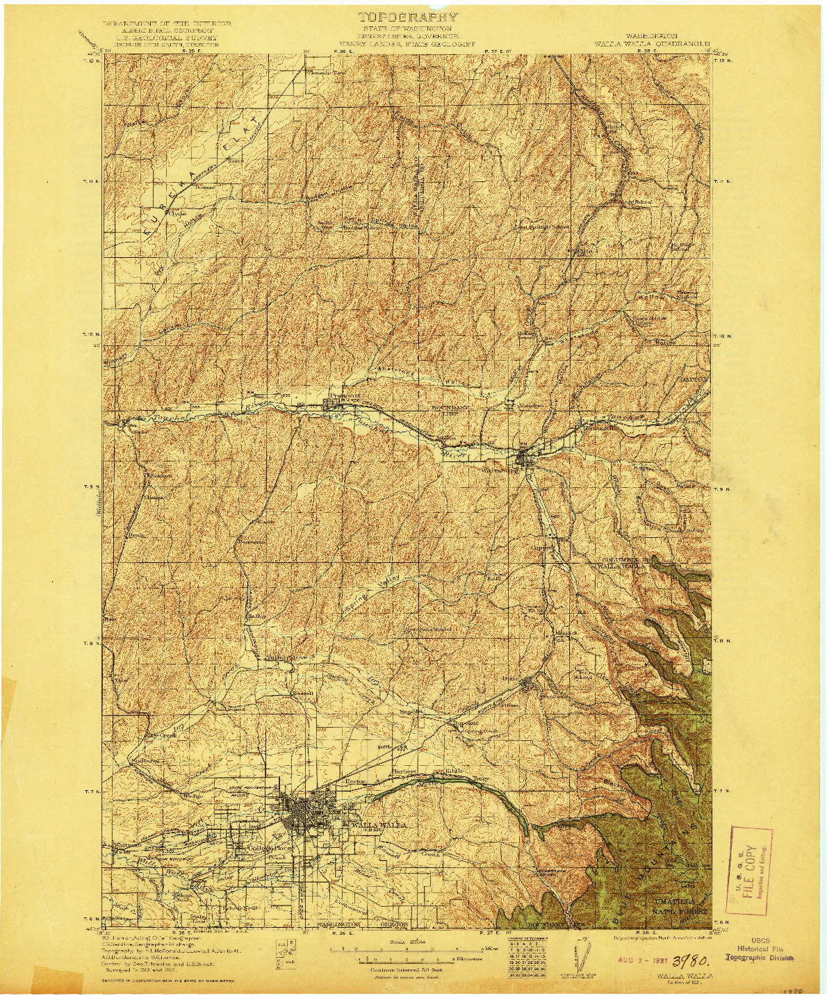 USGS 1:125000-SCALE QUADRANGLE FOR WALLA WALLA, WA 1921