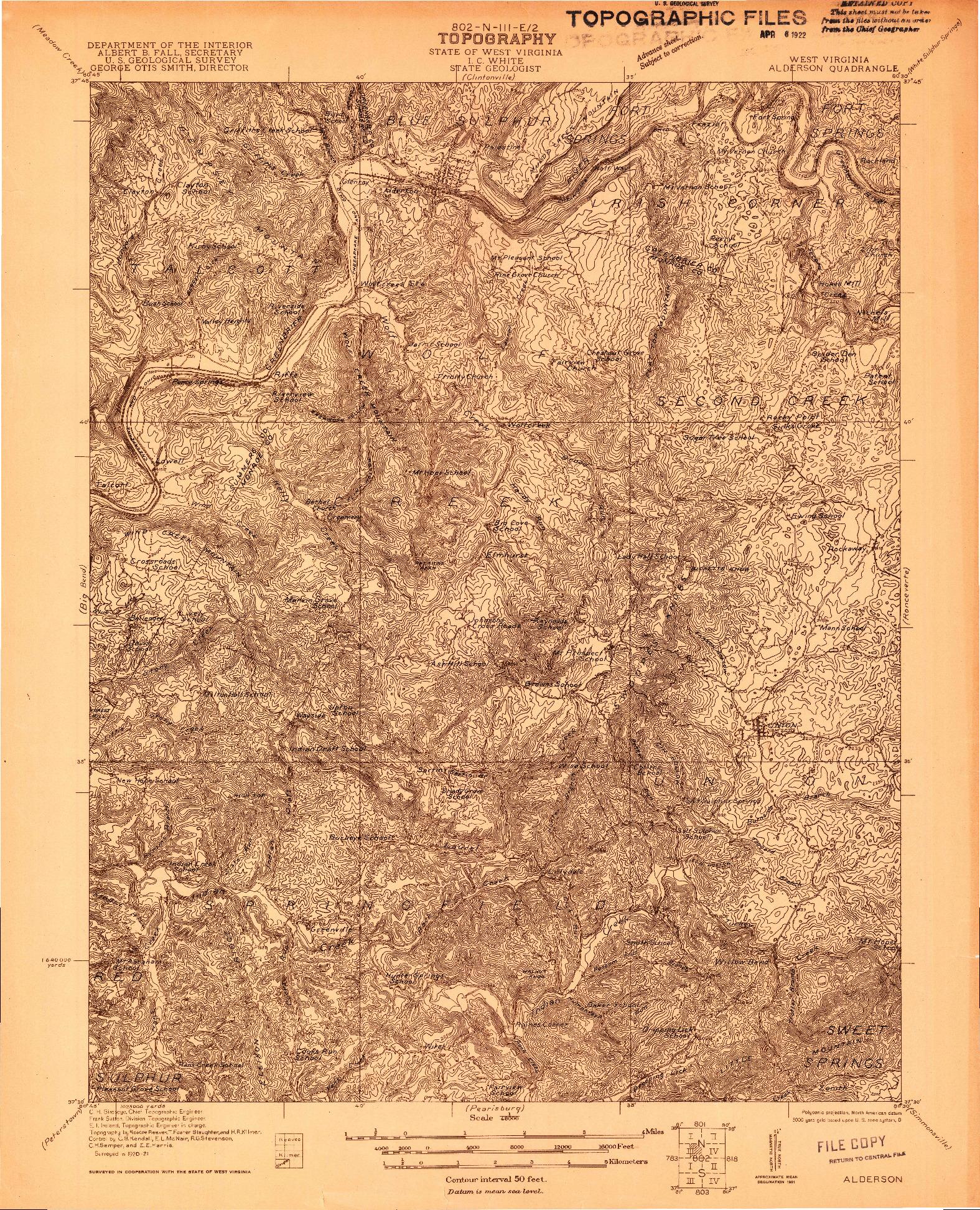 USGS 1:48000-SCALE QUADRANGLE FOR ALDERSON, WV 1921