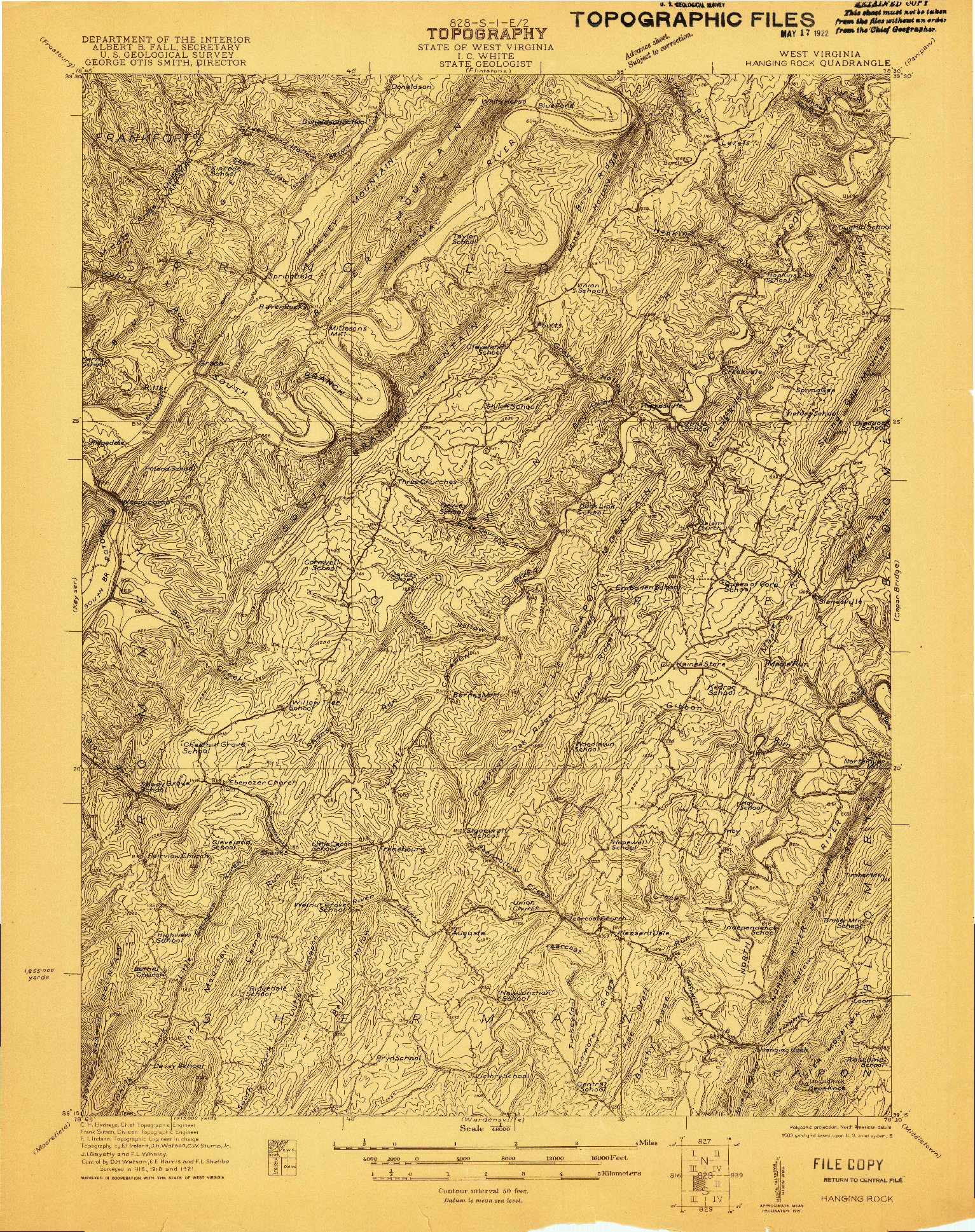 USGS 1:48000-SCALE QUADRANGLE FOR HANGING ROCK, WV 1921