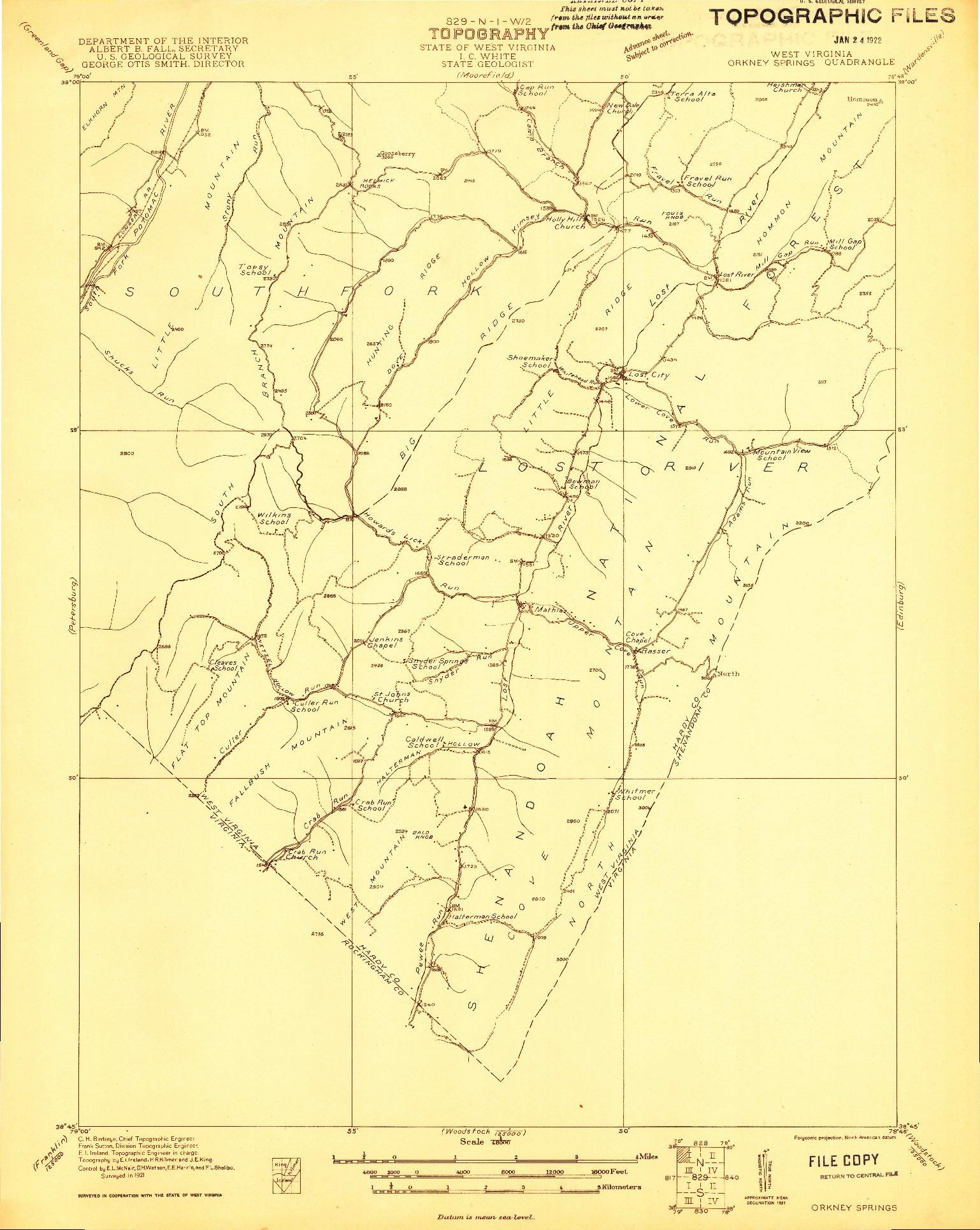 USGS 1:48000-SCALE QUADRANGLE FOR ORKNEY SPRINGS, WV 1921