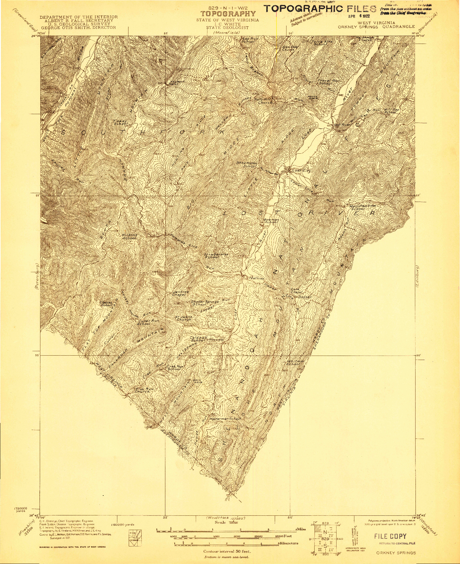 USGS 1:48000-SCALE QUADRANGLE FOR ORKNEY SPRINGS, WV 1921