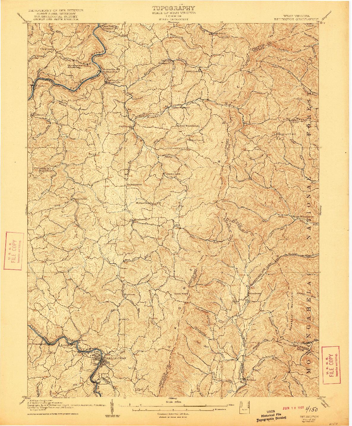 USGS 1:62500-SCALE QUADRANGLE FOR BELINGTON, WV 1907