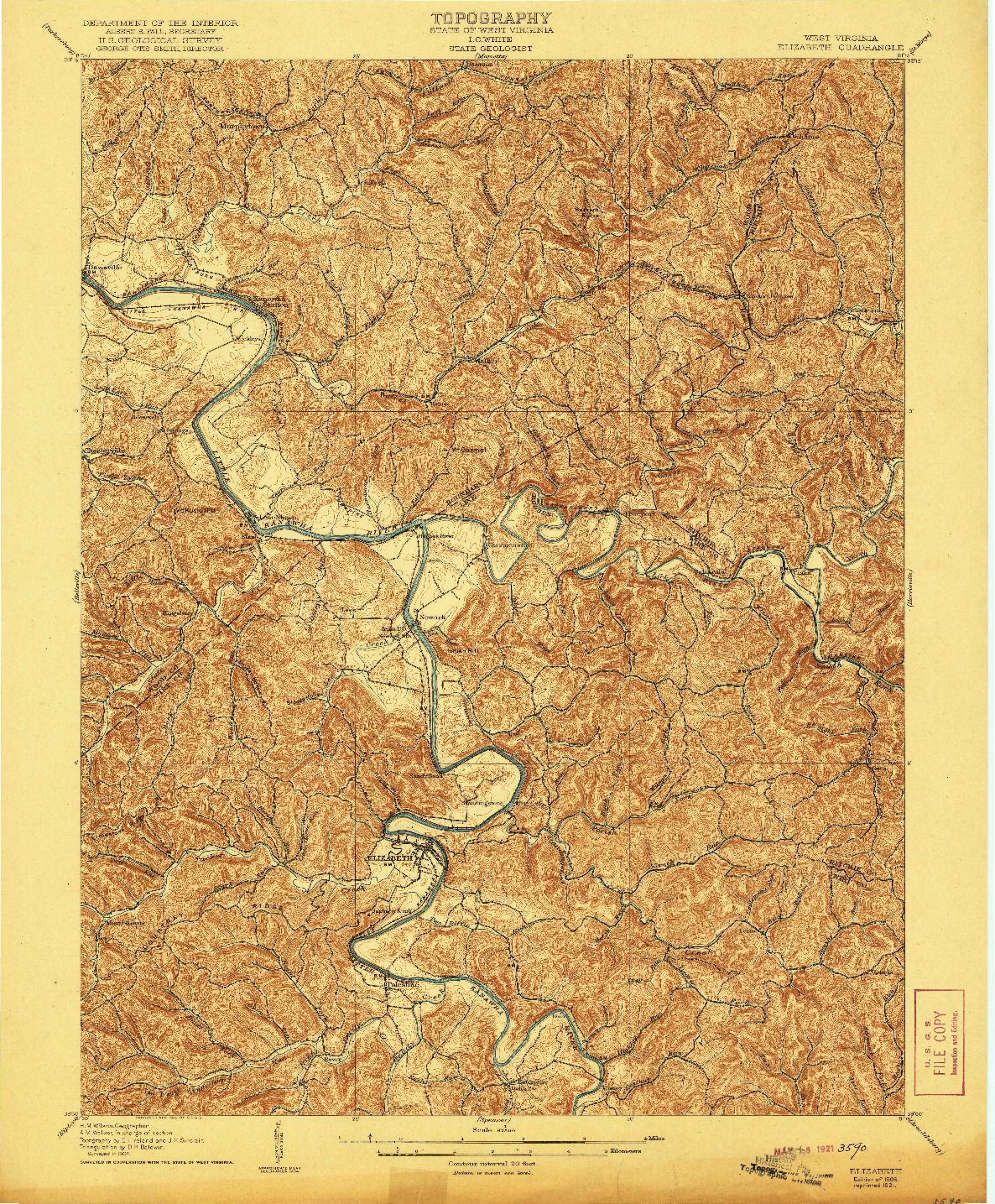 USGS 1:62500-SCALE QUADRANGLE FOR ELIZABETH, WV 1906
