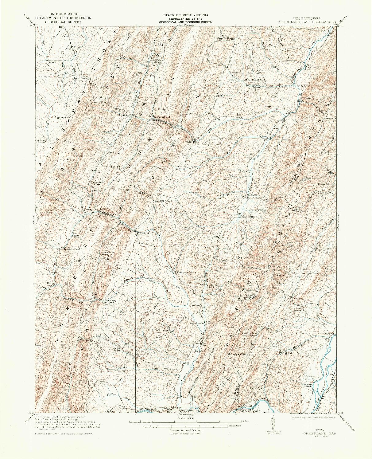 USGS 1:62500-SCALE QUADRANGLE FOR GREENLAND GAP, WV 1921