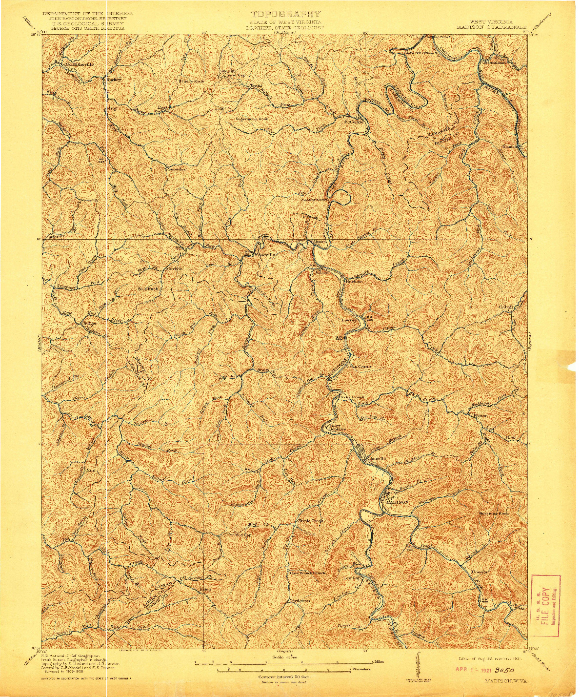 USGS 1:62500-SCALE QUADRANGLE FOR MADISON, WV 1911