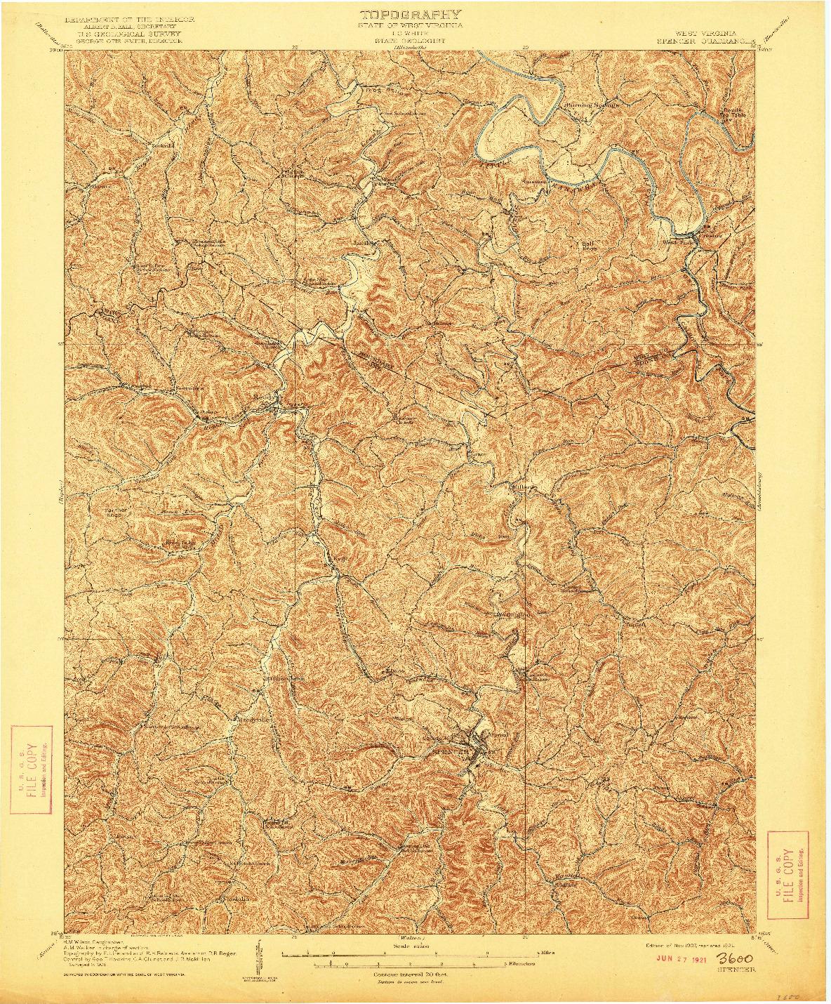 USGS 1:62500-SCALE QUADRANGLE FOR SPENCER, WV 1907