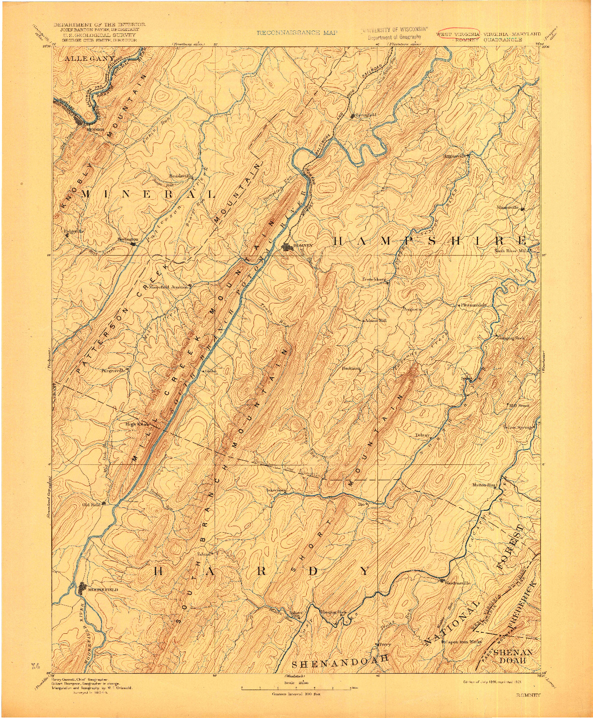 USGS 1:125000-SCALE QUADRANGLE FOR ROMNEY, WV 1891