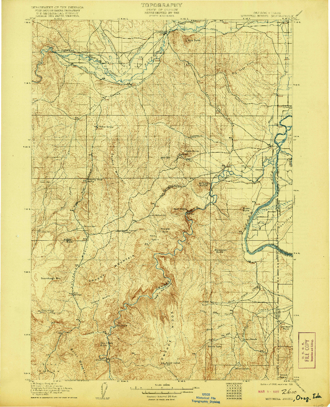 USGS 1:125000-SCALE QUADRANGLE FOR MITCHELL BUTTE, OR 1906