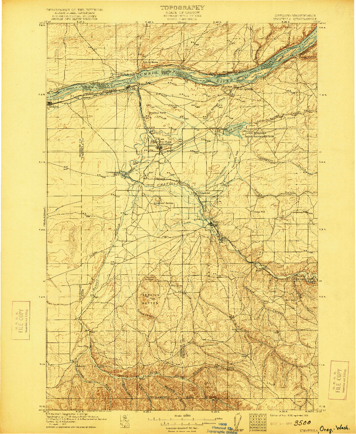 USGS 1:125000-SCALE QUADRANGLE FOR UMATILLA, OR 1908