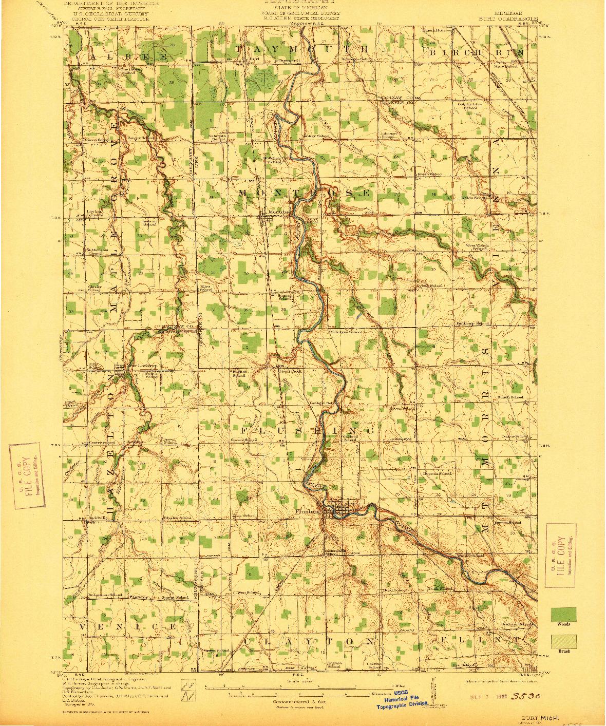 USGS 1:62500-SCALE QUADRANGLE FOR BURT, MI 1921