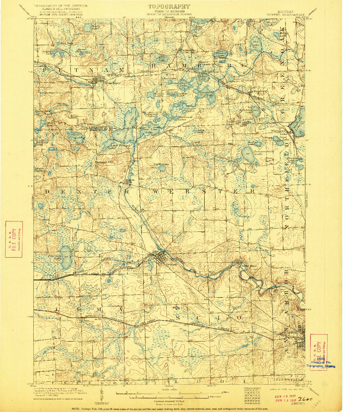 USGS 1:62500-SCALE QUADRANGLE FOR DEXTER, MI 1906