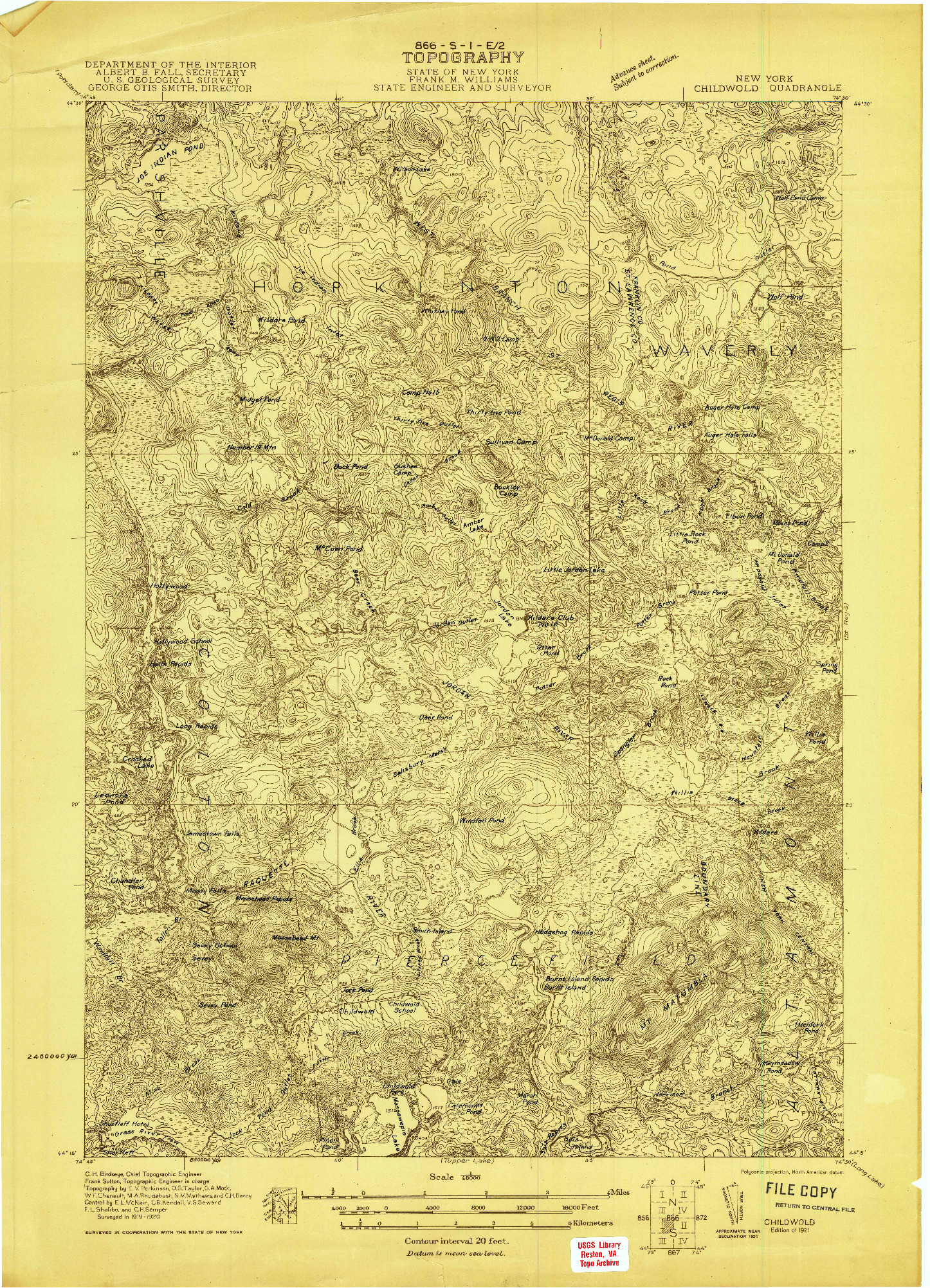 USGS 1:48000-SCALE QUADRANGLE FOR CHILDWOLD, NY 1921