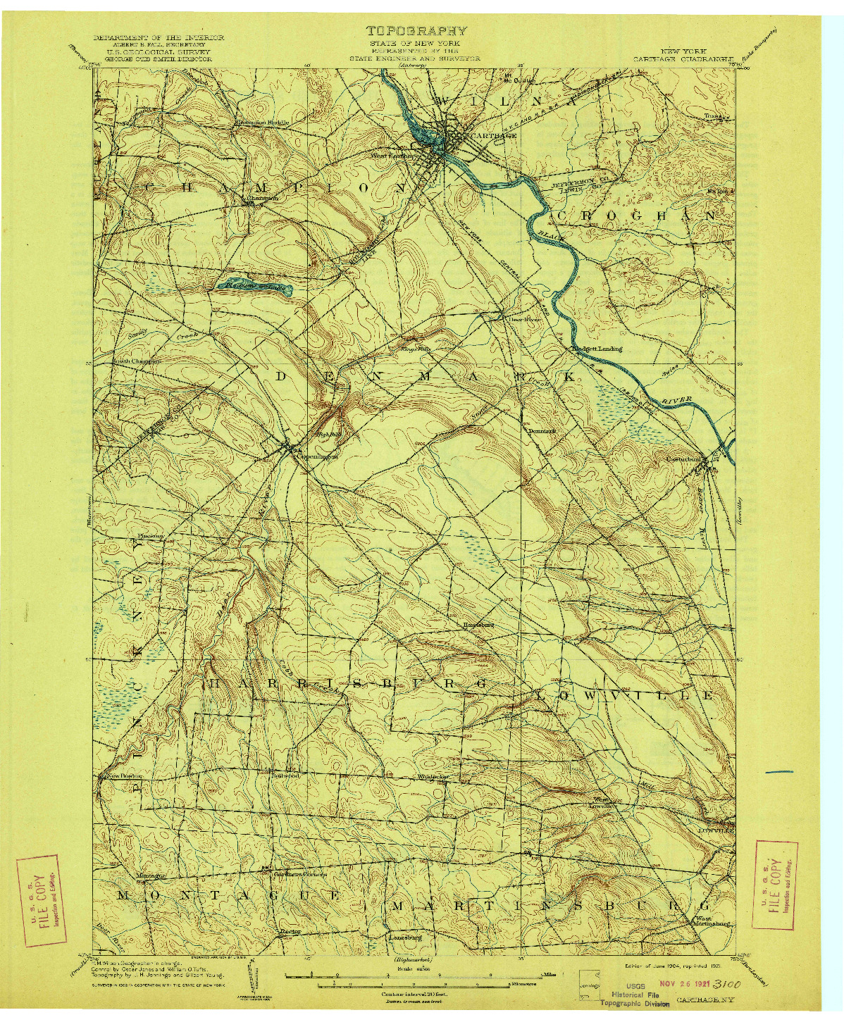 USGS 1:62500-SCALE QUADRANGLE FOR CARTHAGE, NY 1904