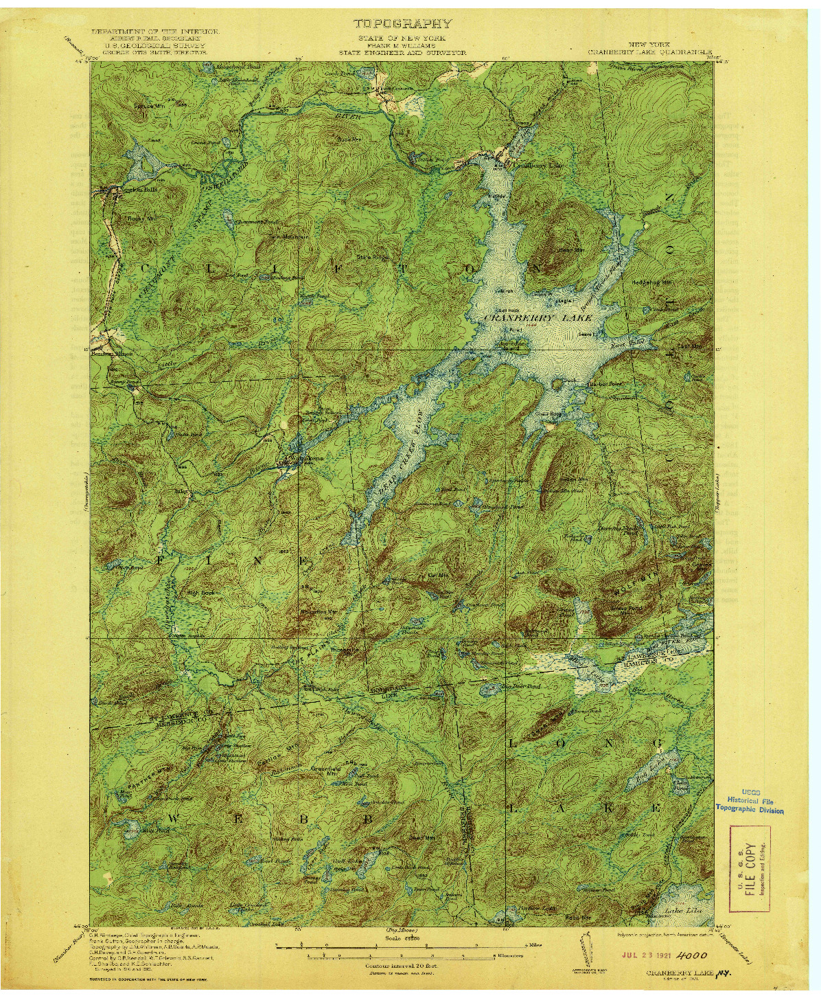 USGS 1:62500-SCALE QUADRANGLE FOR CRANBERRY LAKE, NY 1921
