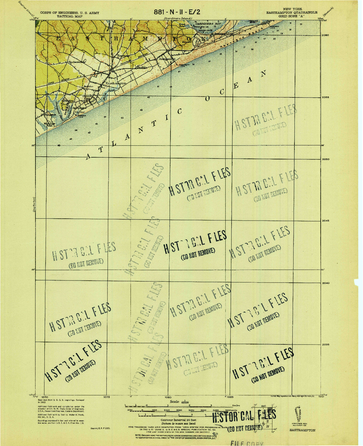 USGS 1:62500-SCALE QUADRANGLE FOR EASTHAMPTON, NY 1921