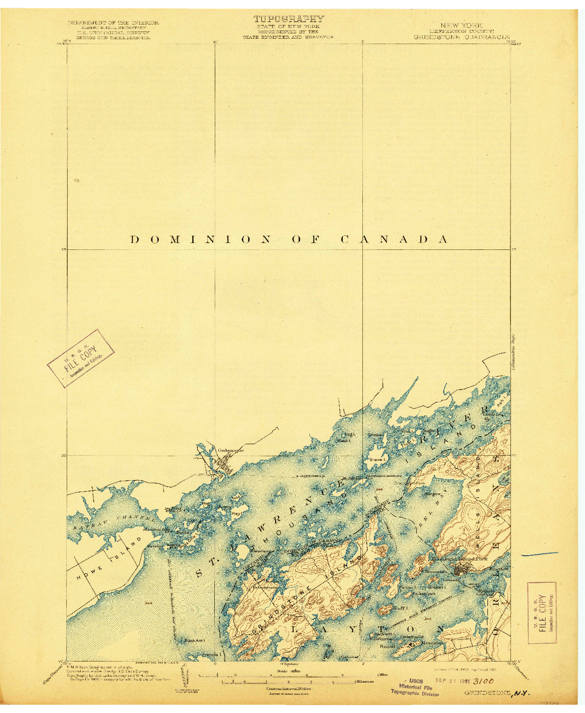 USGS 1:62500-SCALE QUADRANGLE FOR GRINDSTONE, NY 1903