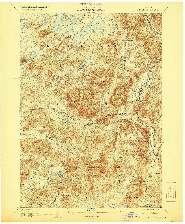 USGS 1:62500-SCALE QUADRANGLE FOR LAKE PLEASANT, NY 1907