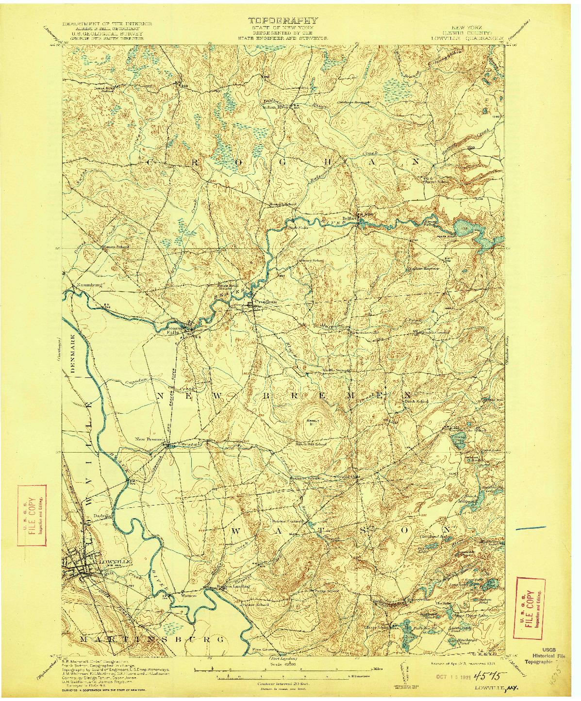 USGS 1:62500-SCALE QUADRANGLE FOR LOWVILLE, NY 1913