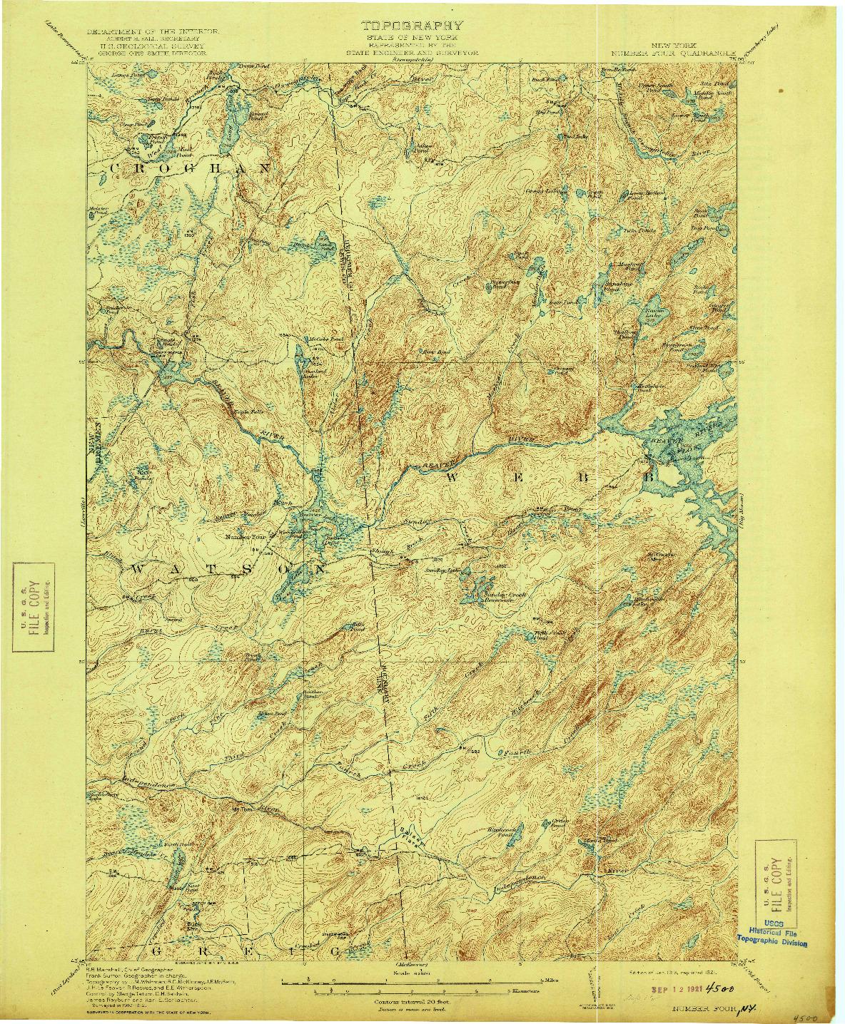 USGS 1:62500-SCALE QUADRANGLE FOR NUMBER FOUR, NY 1915