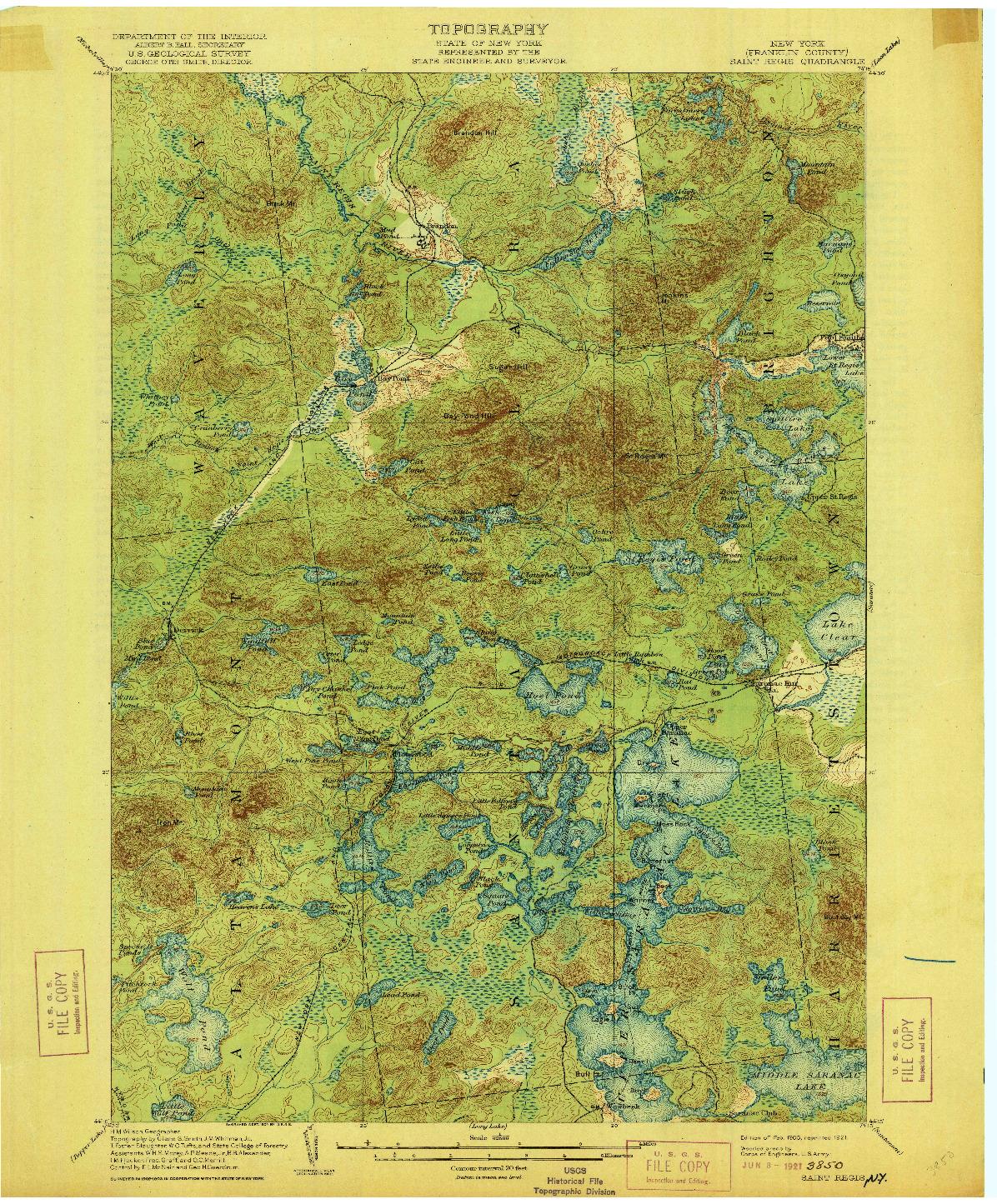 USGS 1:62500-SCALE QUADRANGLE FOR SAINT REGIS, NY 1905