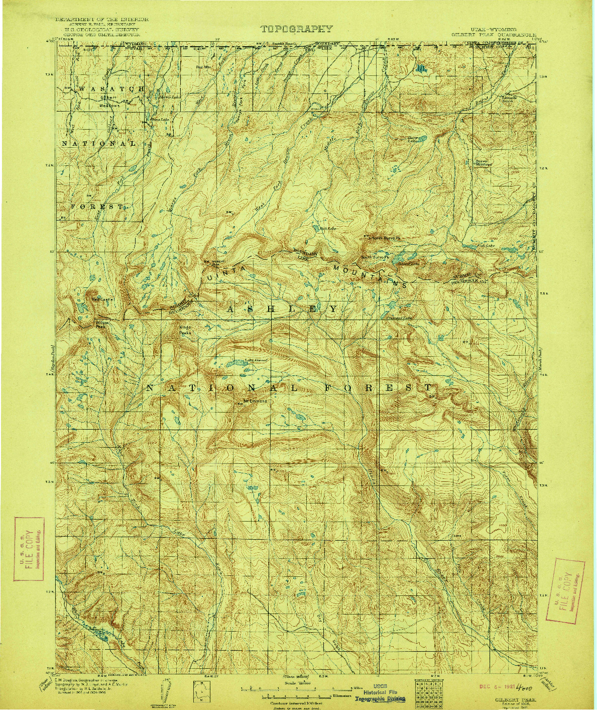 USGS 1:125000-SCALE QUADRANGLE FOR GILBERT PEAK, UT 1906