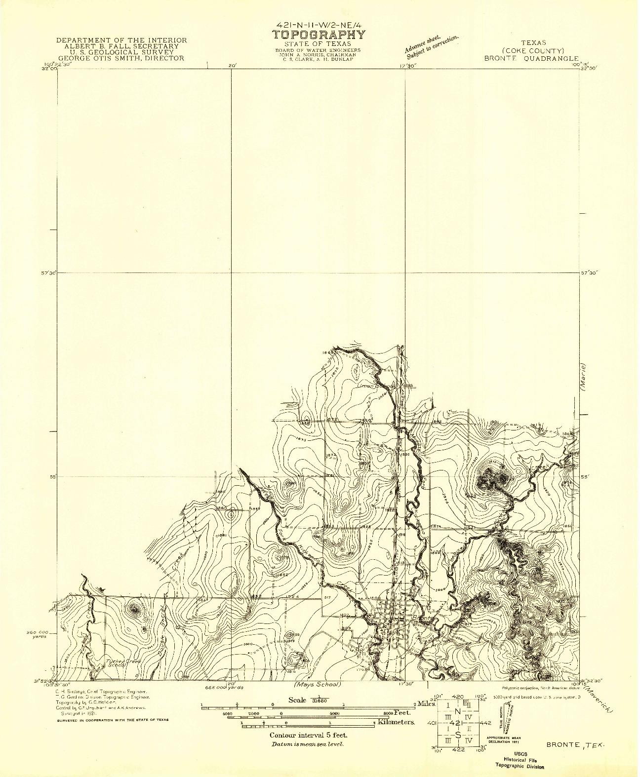 USGS 1:31680-SCALE QUADRANGLE FOR BRONTE, TX 1921