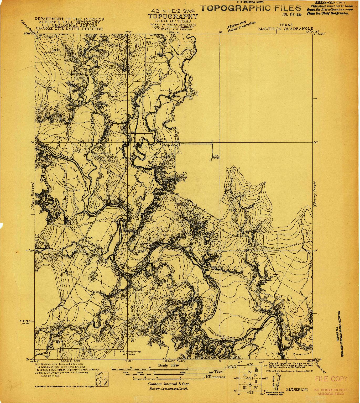 USGS 1:31680-SCALE QUADRANGLE FOR MAVERICK, TX 1921