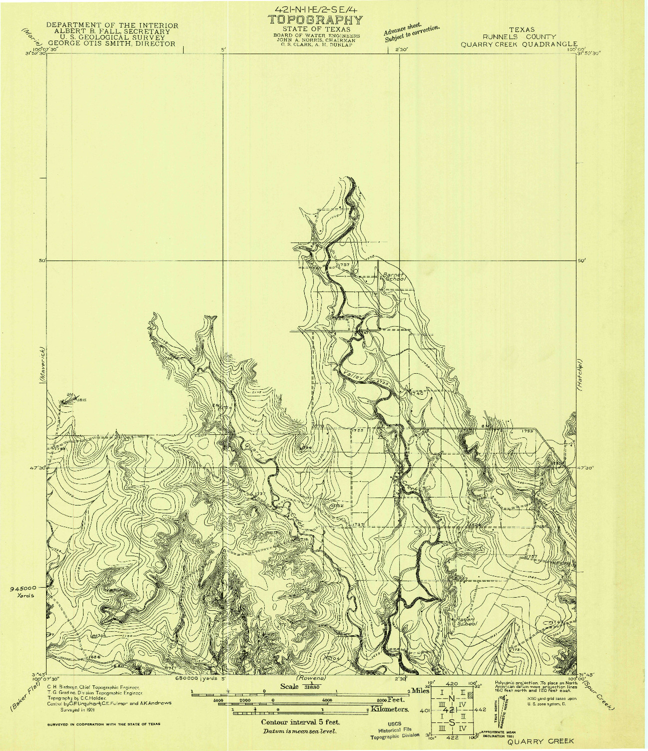 USGS 1:31680-SCALE QUADRANGLE FOR QUARRY CREEK, TX 1921