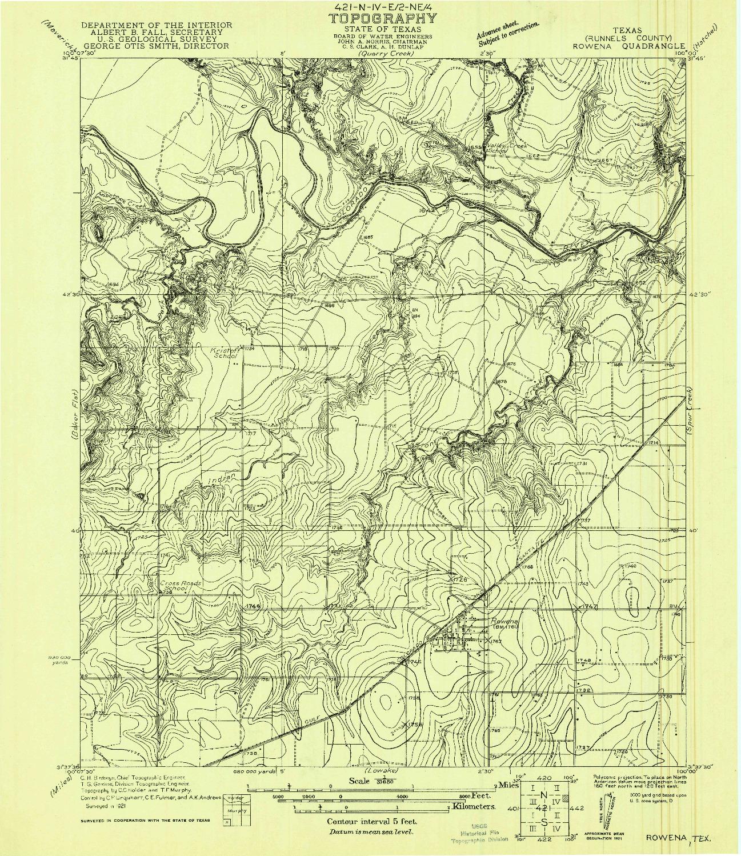 USGS 1:31680-SCALE QUADRANGLE FOR ROWENA, TX 1921