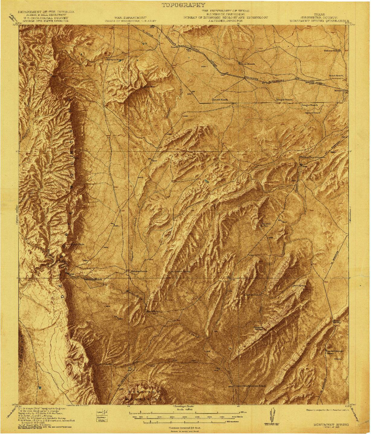 USGS 1:62500-SCALE QUADRANGLE FOR MONUMENT SPRING, TX 1921