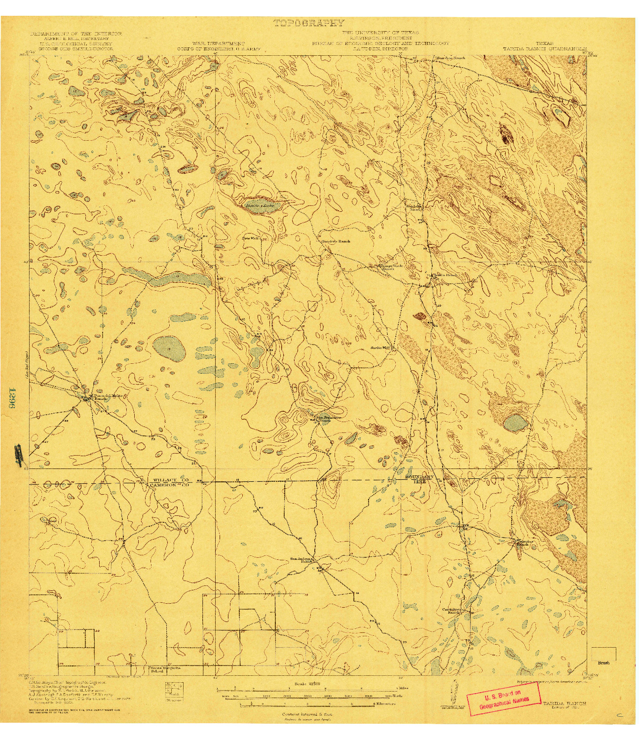 USGS 1:62500-SCALE QUADRANGLE FOR TARIDA RANCH, TX 1921