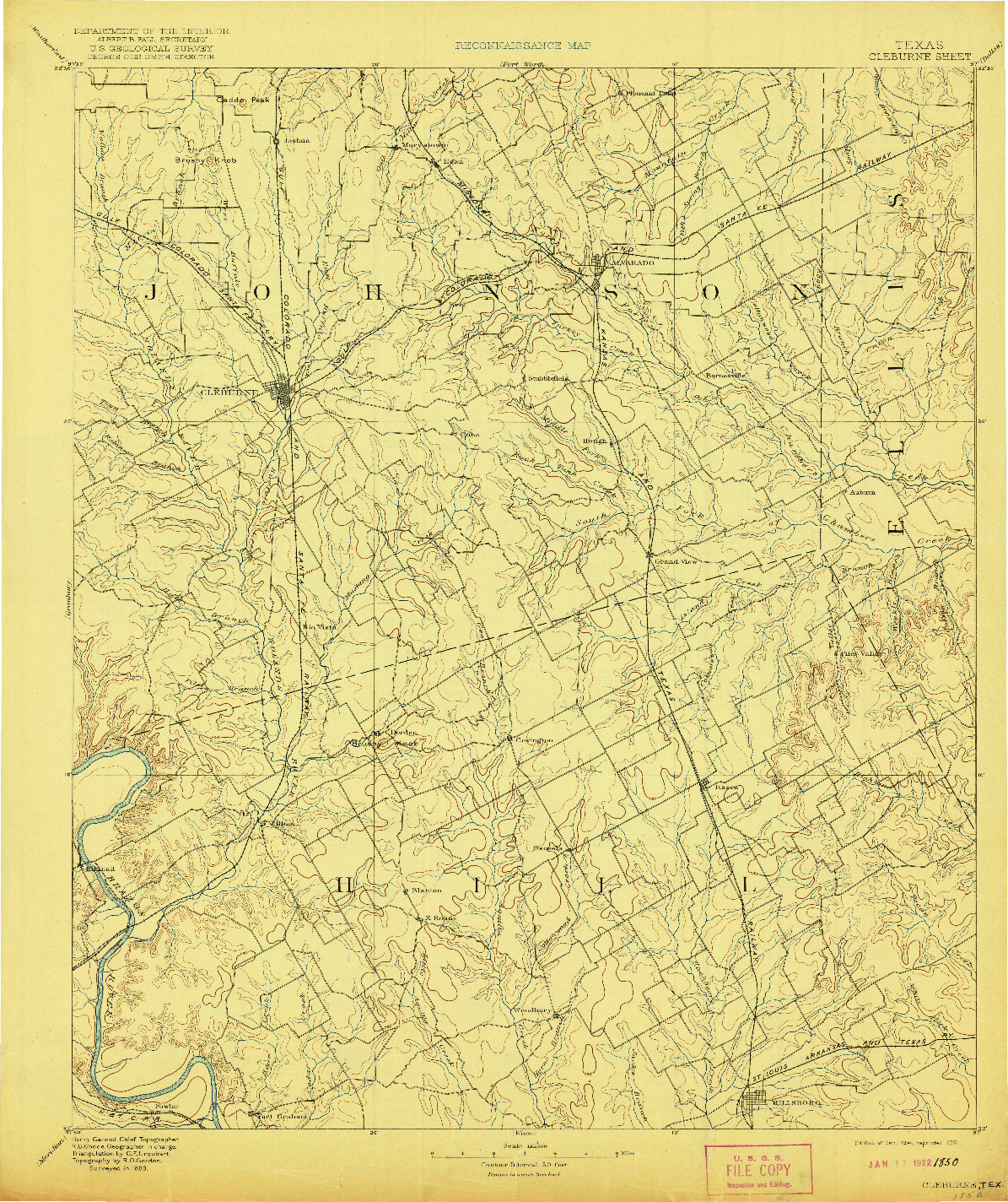 USGS 1:125000-SCALE QUADRANGLE FOR CLEBURNE, TX 1894
